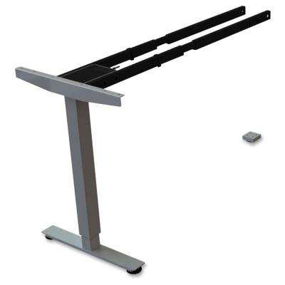 24 in. x 44 in. x 24 in. Silver 2-Tier Sit/Stand Desk Silver Third-leg Add-on Kit