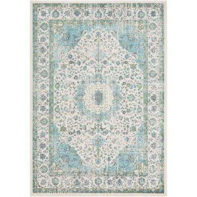 Kathy Cream/Aqua 2 ft. x 3 ft. Oriental Area Rug