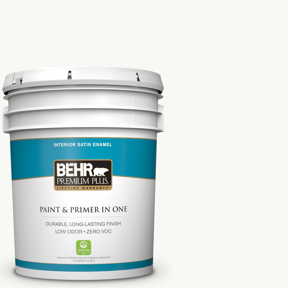 BEHR Premium Plus 5 gal. #PR-W15 Ultra Pure White Satin Enamel Zero VOC Interior Paint and Primer in One