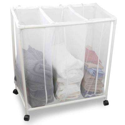 White Mesh Laundry Triple Sorter with Wheels