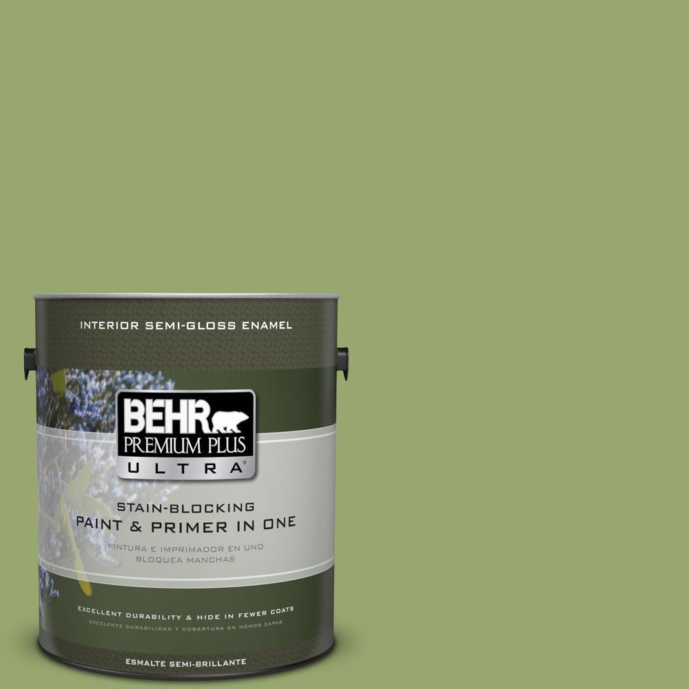 BEHR Premium Plus Ultra 1 gal. #MQ4-43 Green Plaza Semi-Gloss Enamel Interior Paint and Primer in One