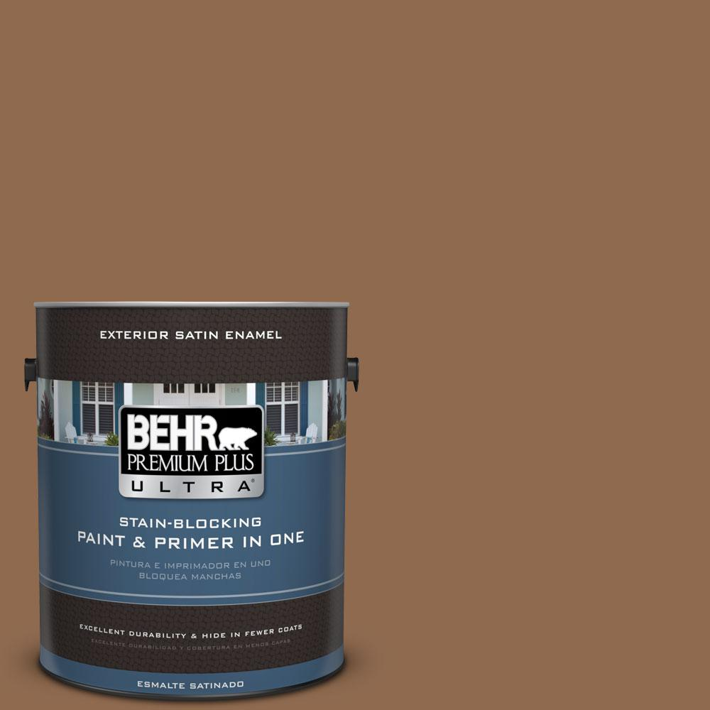BEHR Premium Plus Ultra 1-gal. #PPU4-1 Caramel Swirl Satin Enamel Exterior Paint