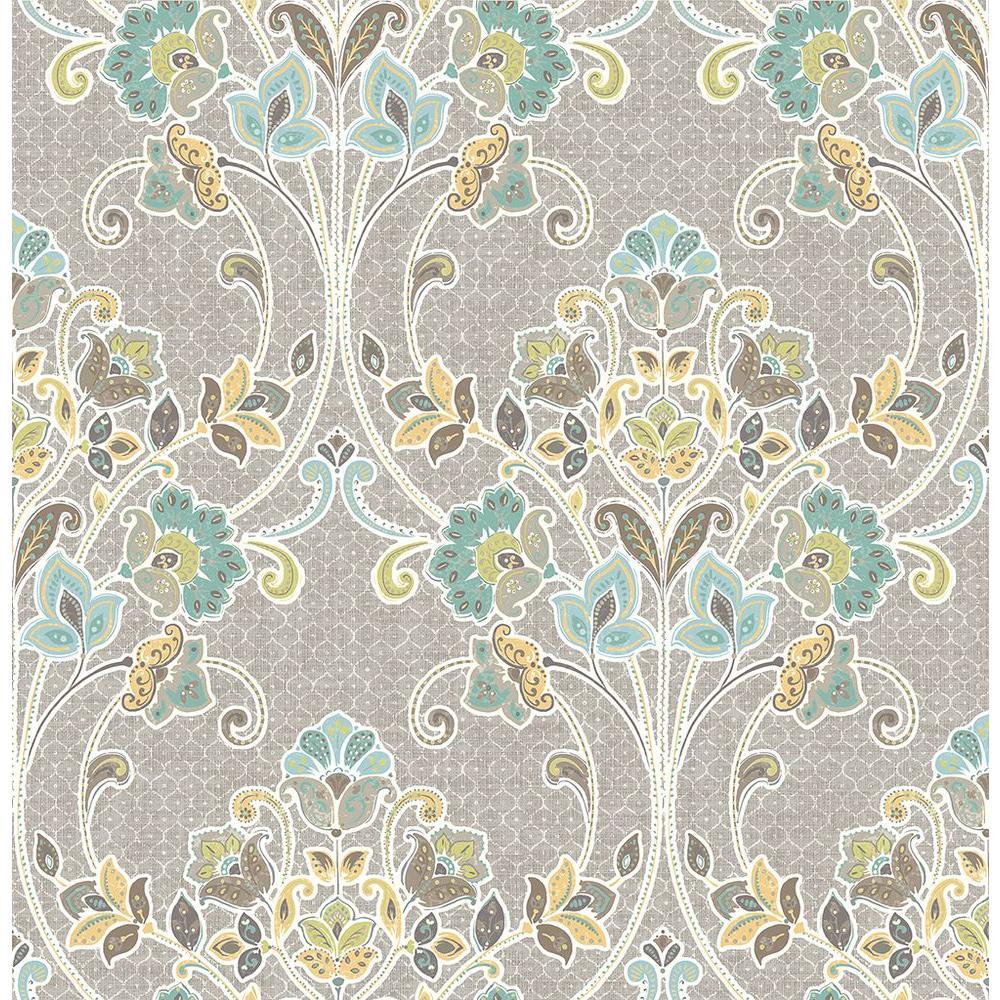 A-Street Willow Grey Nouveau Floral Wallpaper 1014-001810