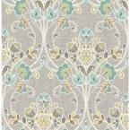 Willow Grey Nouveau Floral Paper Strippable Roll (Covers 56.4 sq. ft.)