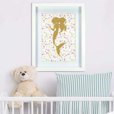 11 in. x 14 in. Glitter Mermaid 1-Piece Framed Artwork with Mat and Glitter