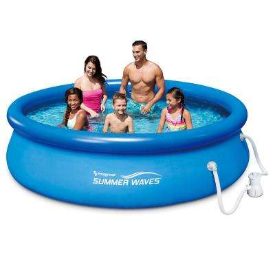 Summer Waves 120 in. x 120 in. Quick Set Inflatable Above Ground Pool with Filter Pump