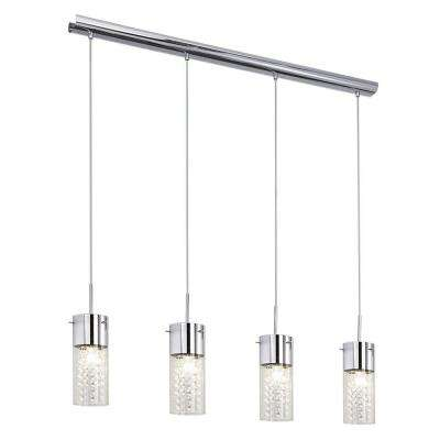 Diamond 4-Light Chrome Multi-Light Pendant with Crystal Accents
