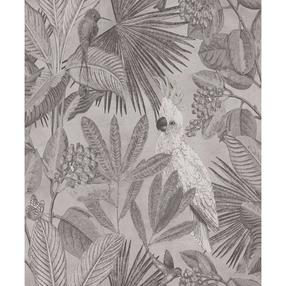 Grey Tropical Paradise Wallpaper