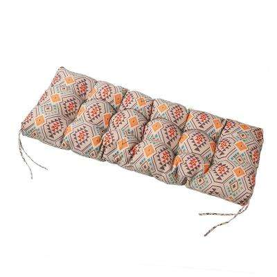 Orange Geometric Rectangle Outdoor Bench Cushion