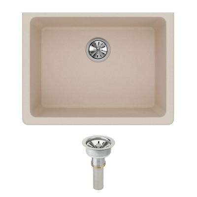 Quartz Classic Undermount Composite 25 in. Single Bowl Kitchen Sink in Putty with Drain