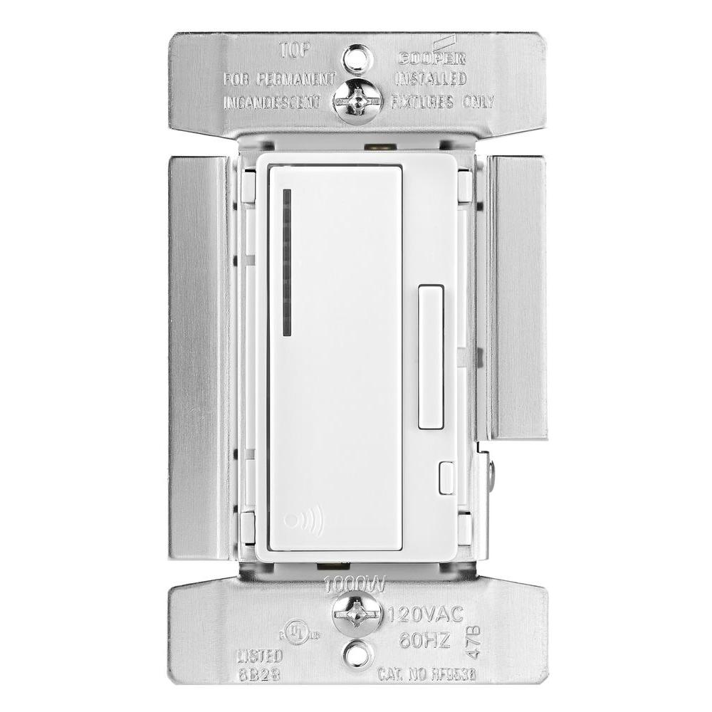 Eaton Dimmers Wiring Devices Light Controls The Home Depot Stacked 3way Switch Aspire 1000 Watt Incandescent Smart Dimmer System Masters Decorator White