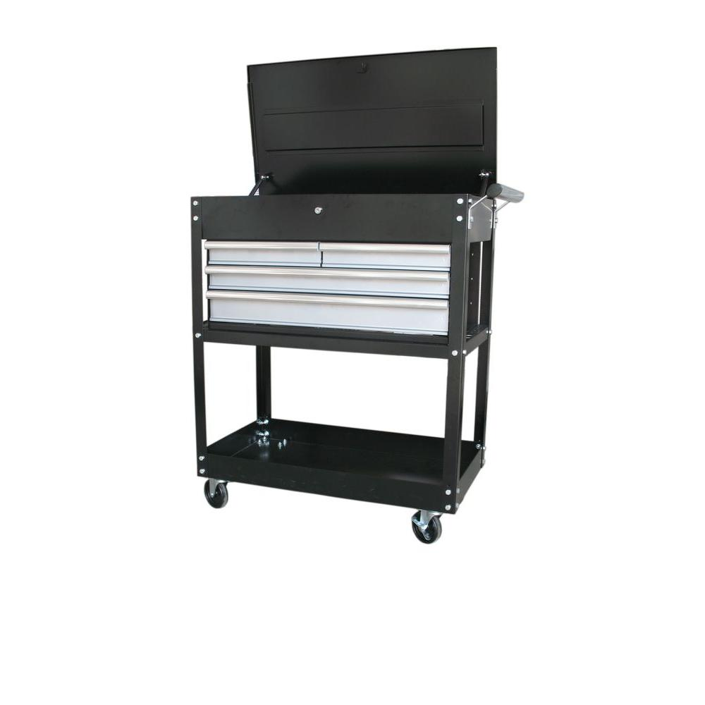 Go Home Black Industrial Kitchen Cart At Lowes Com: International 33 In. 4-Drawer Industrial Cart, Black-UCM