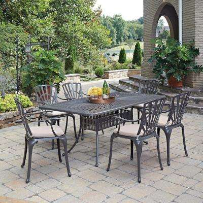 Largo Taupe 7-Piece All-Weather Patio Dining Set with Natural Cushions