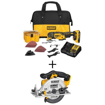 20-Volt MAX Lithium-Ion Cordless Brushless Oscillating Tool Kit with 20V MAX Li-Ion 6-1/2 in. Circular Saw (Tool-Only)