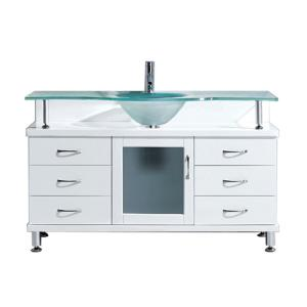 Virtu USA Vincente 55.12 inch W x 21.65 inch D x 33.54 inch H White Vanity With Glass... by Virtu USA