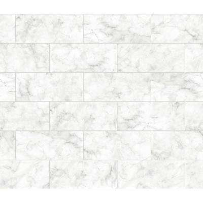 White Marble Tile Wall Applique Peel and Stick Backsplash