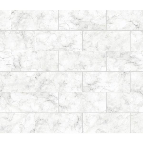 Brewster White Marble Tile Wall Applique Peel and Stick Backsplash BHF3046
