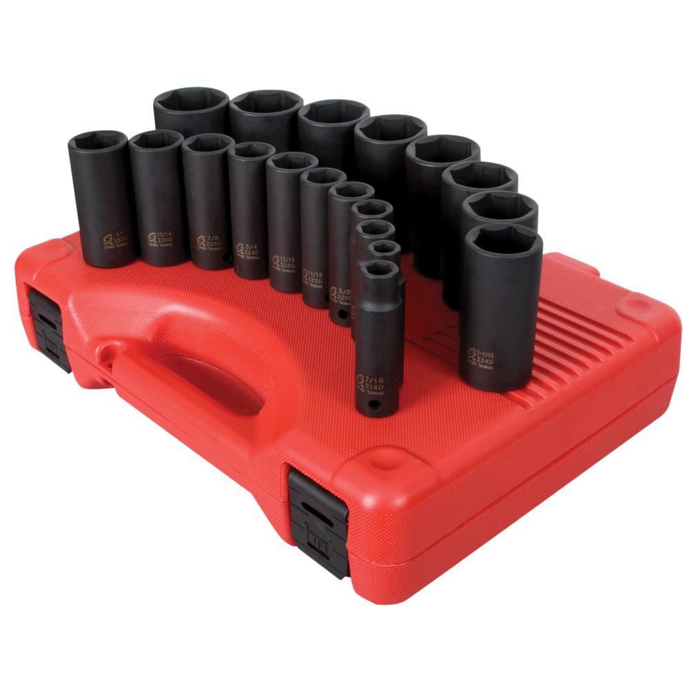 Sunex 1/2 in. Drive Deep SAE Impact Socket Set (19-Piece)