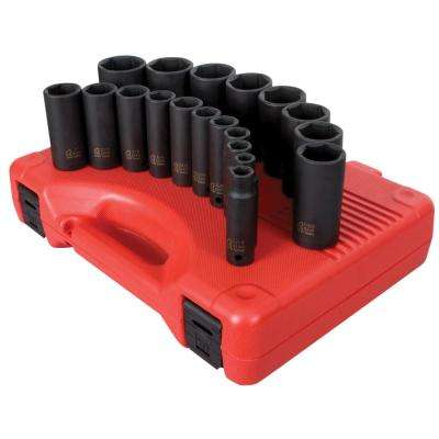1/2 in. Drive Deep SAE Impact Socket Set (19-Piece)