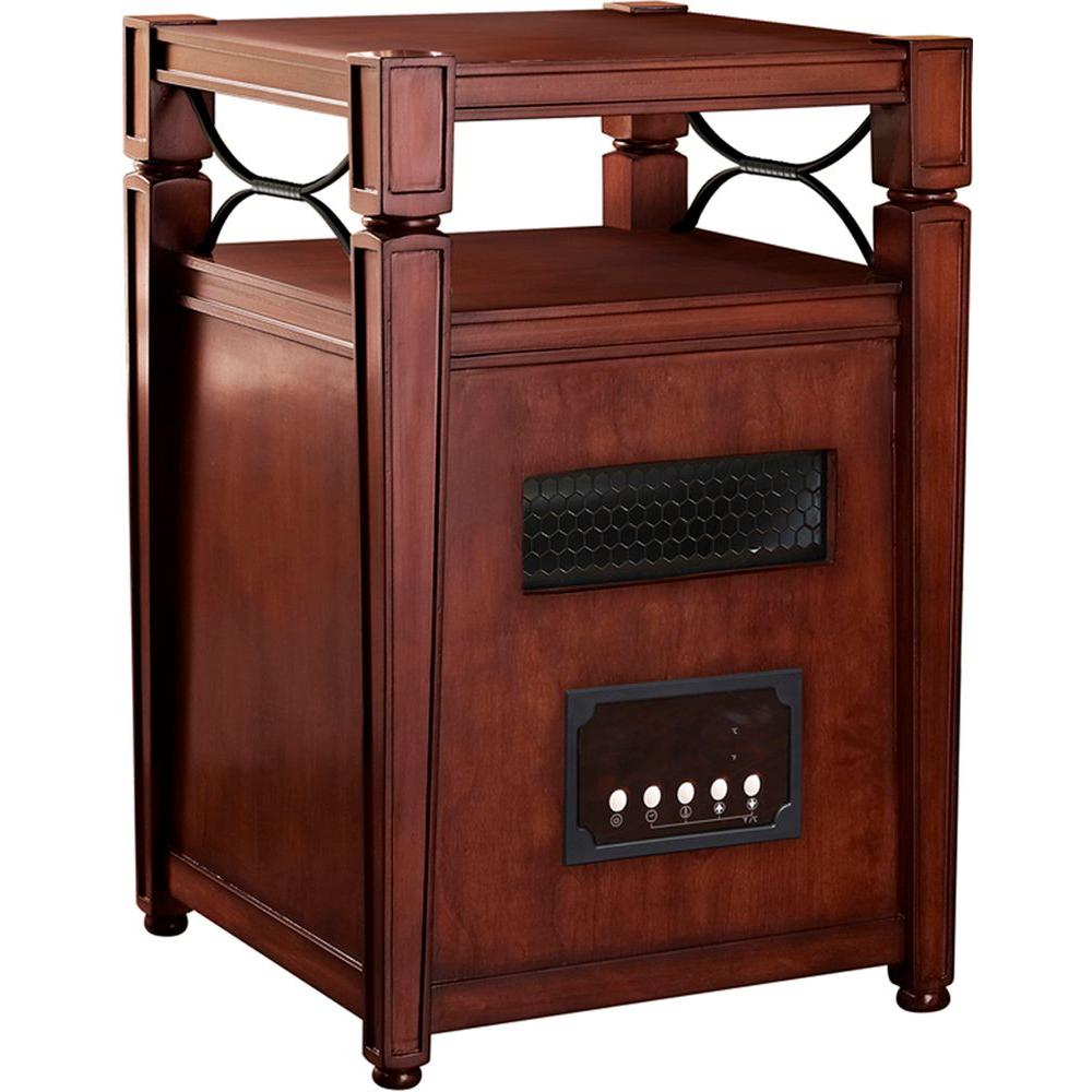 Muskoka 1500-Watt Infrared Heater with Table Top and Decorative Metal Accents - Burnished Cherry