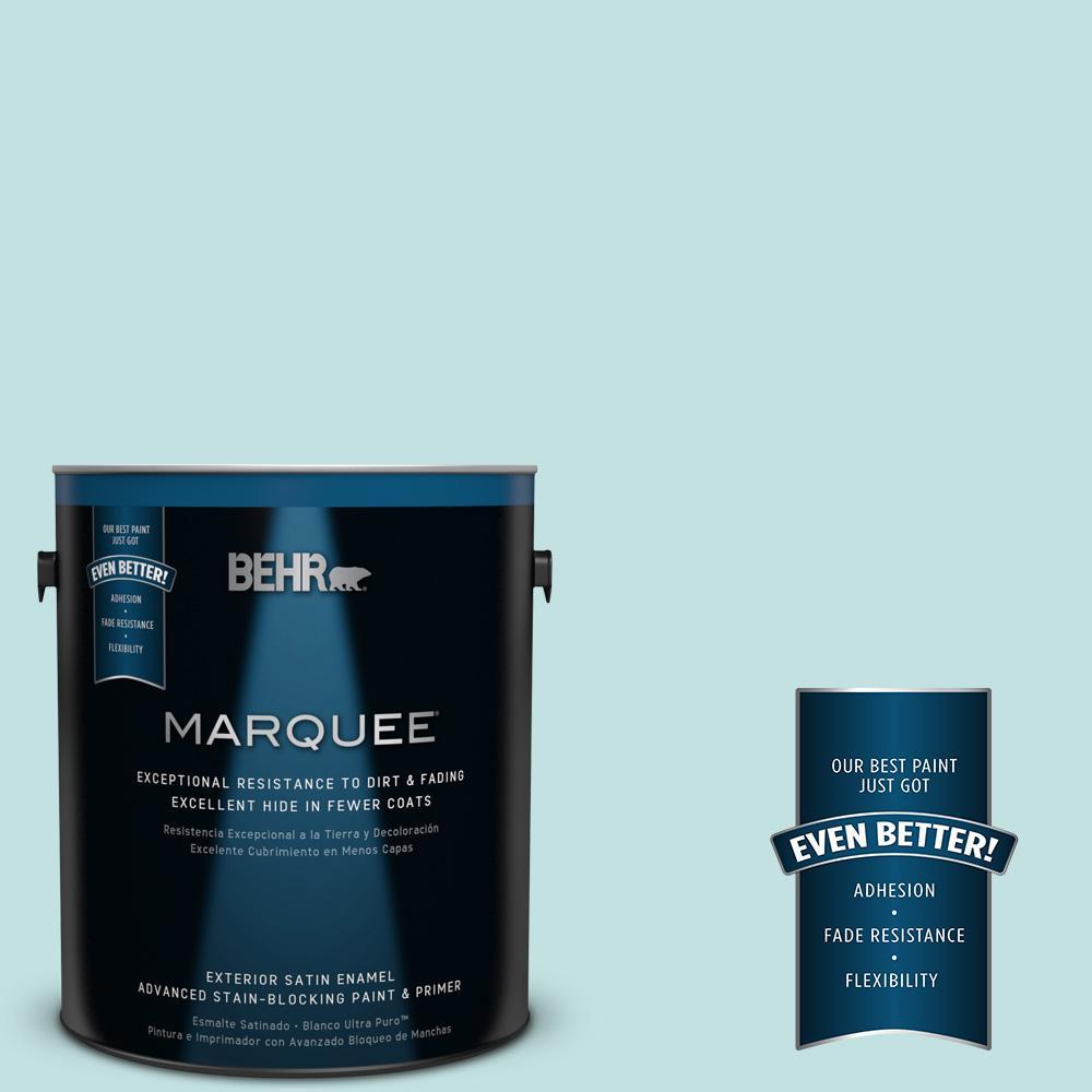 1 gal. #T17-04 Peek a Blue Satin Enamel Exterior Paint