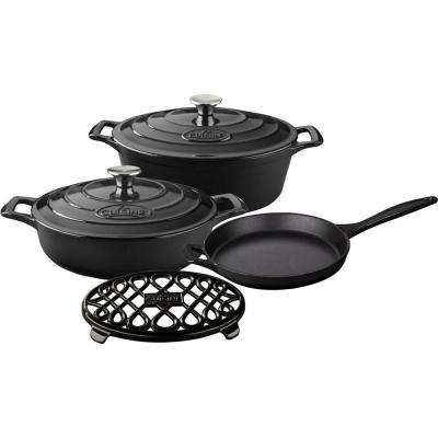 PRO 6-Piece Enameled Cast Iron Cookware Set with Saute, Skillet and Oval Casserole with Trivet in Black