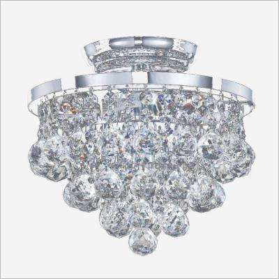 Vista 3-Light Chrome and Faceted Crystal Ball 10 in. Incandescent Flush Mount Light