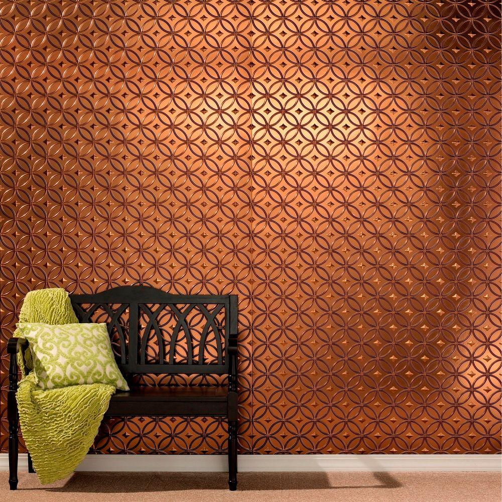 Rings 96 in. x 48 in. Decorative Wall Panel in Smoked