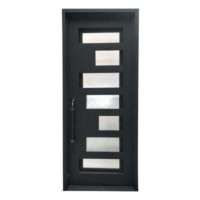 40 in. x 96 in. Matte Black Right-Hand Inswing Mini Lite Clear Double-Glazed Iron Prehung Front Door