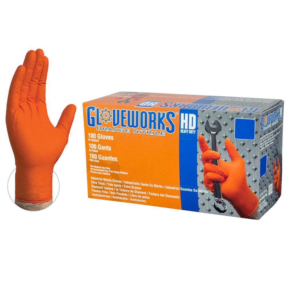 Orange Nitrile Diamond Texture Industrial Powder-Free 8 Mil, Disposable Gloves (100-Count) - Medium