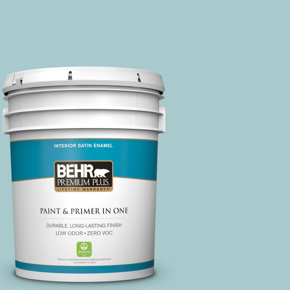BEHR Premium Plus 5 gal. #PMD-95 Coastal Surf Satin Enamel Zero VOC Interior Paint and Primer in One