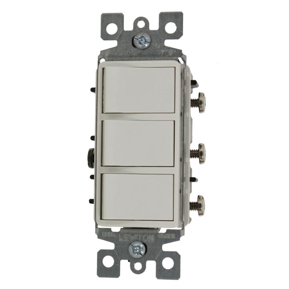 Leviton Ivory Decora Single Pole Triple Rocker Light Switch Control Bulk 1755-I