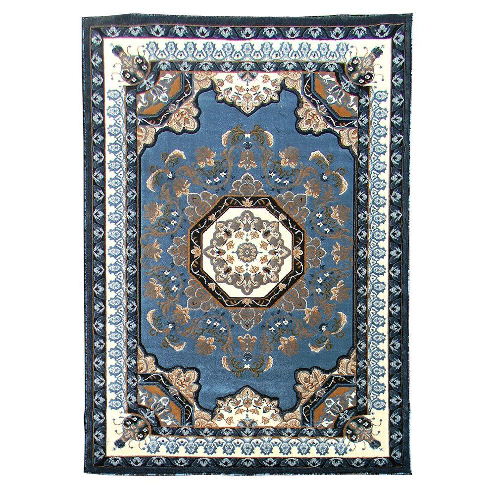 DonnieAnn Kingdom Traditional Blue 5 ft. x 7 ft. Indoor Area Rug