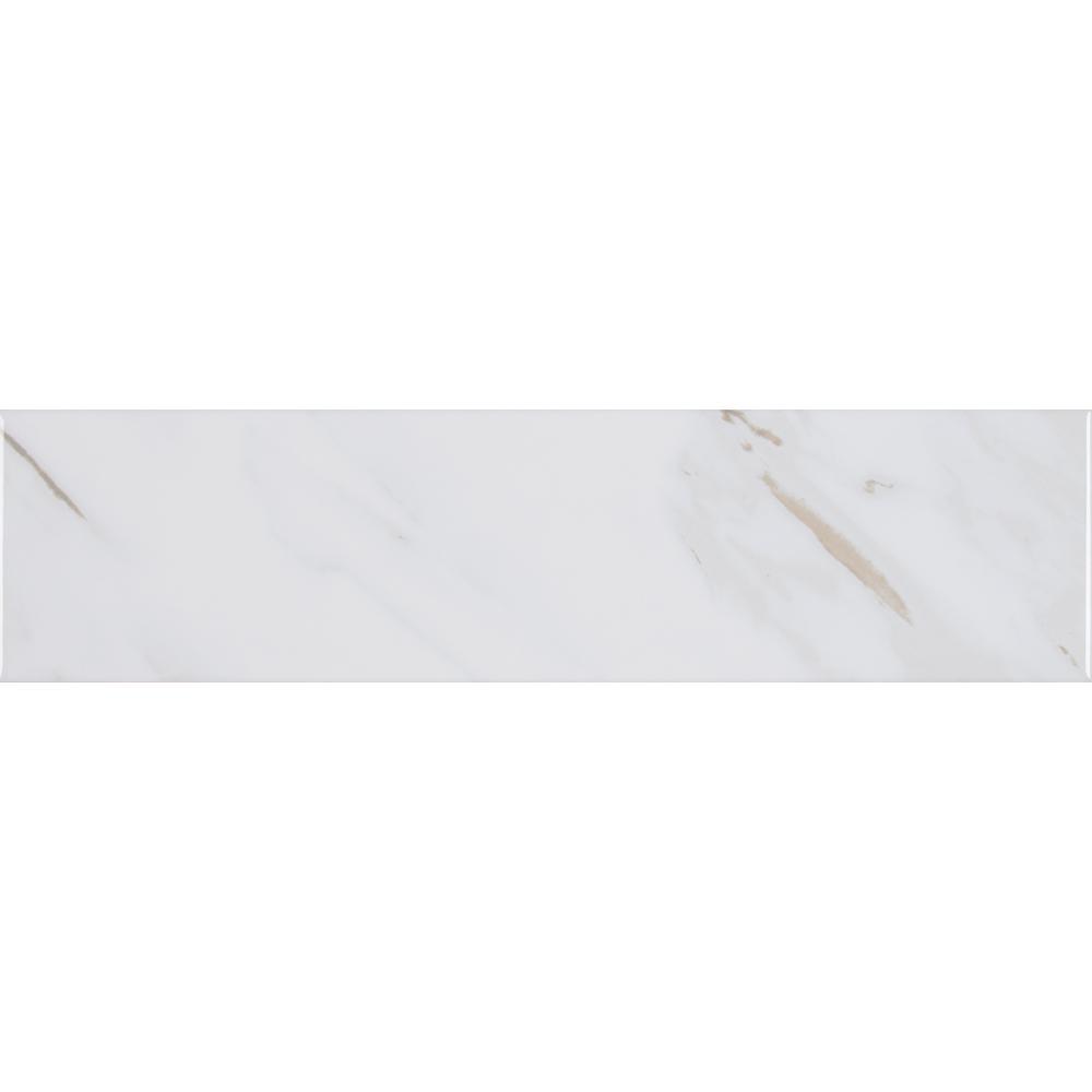 Classique White Calacatta Mixed Glossy 4 in. x 16 in. Glazed