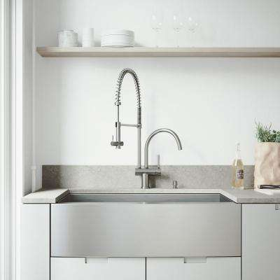 All-in-One Farmhouse Apron Front Stainless Steel 36 in. Single Bowl Kitchen Sink in Stainless Steel