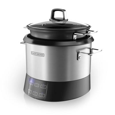 BLACK+DECKER 6-in-1 Stirring Rice and Risotto Cooker (20-Cup), Black/Silver