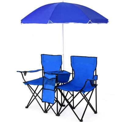 Steel Patio Portable Folding Double Lounge Chairs with Umbrella Bench and Lawn Chairs