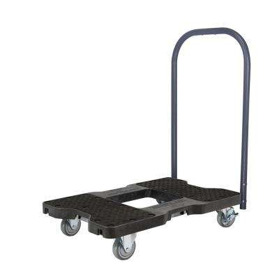 1500 lb. Capacity Industrial Strength Professional E-Track Push Cart Dolly in Black