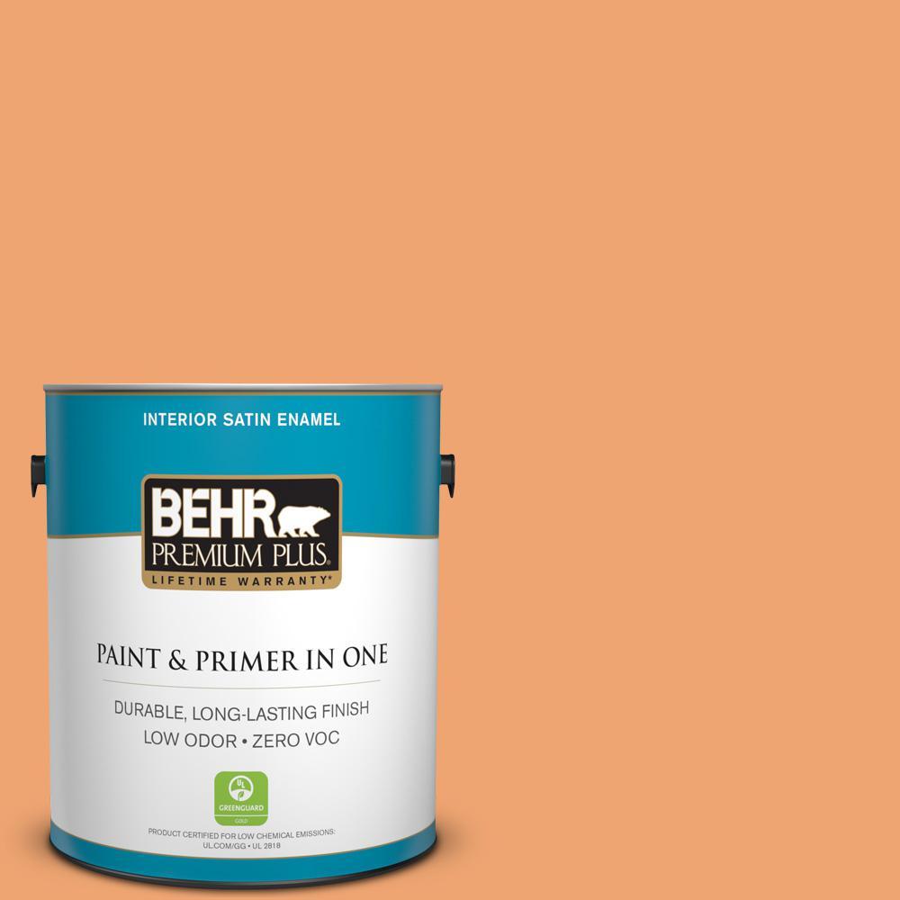 1 gal. #HDC-SP16-04 Apricot Jam Zero VOC Satin Enamel Interior Paint