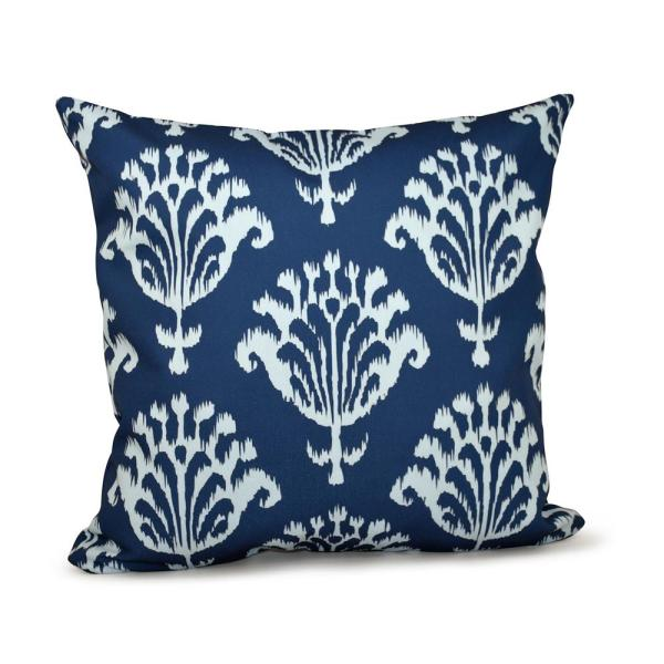 16 in. x 16 in. Floral Motifs Decorative Pillow in Navy