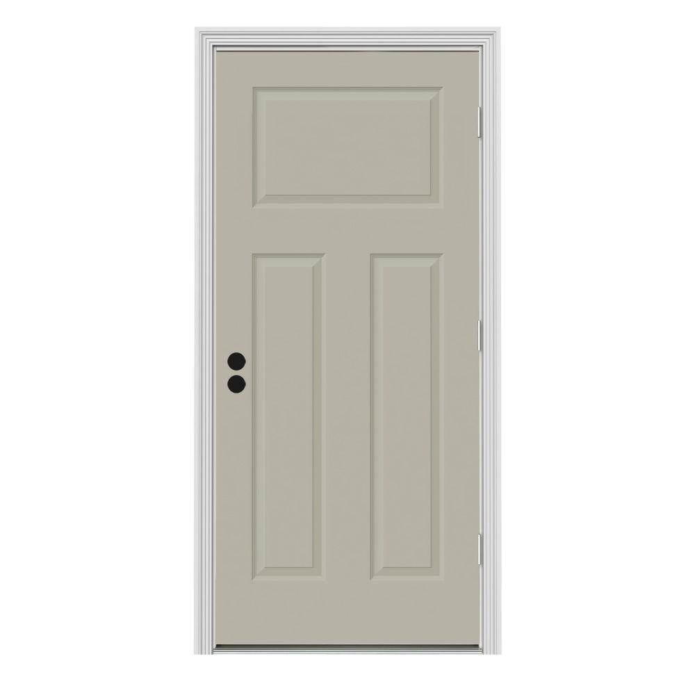 JELD-WEN 34 in. x 80 in. 3-Panel Craftsman Desert Sand Painted Steel Prehung Left-Hand Front Door w/Brickmould