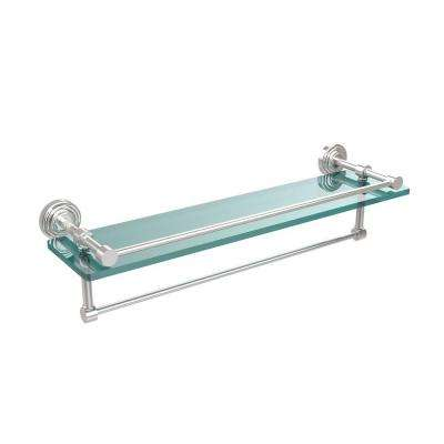 22 in. L  x 5 in. H  x 5 in. W Clear Glass Bathroom Shelf with Towel Bar in Polished Chrome