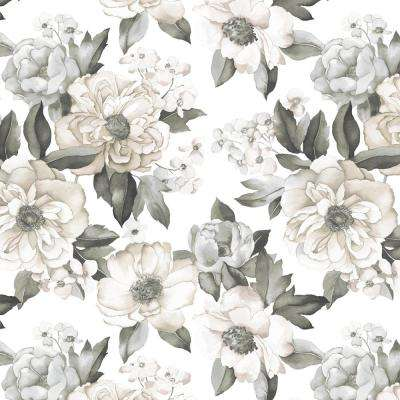 Watercolor Floral Bouquet Grey Vinyl Peelable Roll (Covers 28.29 sq. ft.)