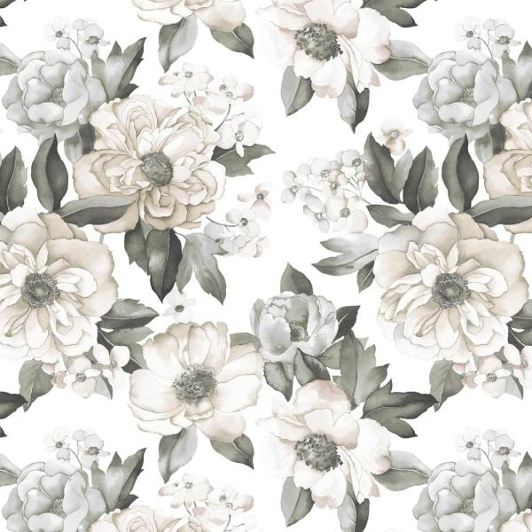 Roommates Watercolor Floral Bouquet Grey Vinyl Peelable Roll Covers 28 29 Sq Ft Rmk11445rl The Home Depot