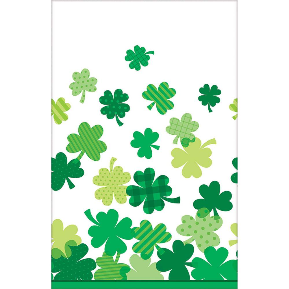 Blooming Shamrock 54 in. x 102 in. Plastic St. Patrick's Day