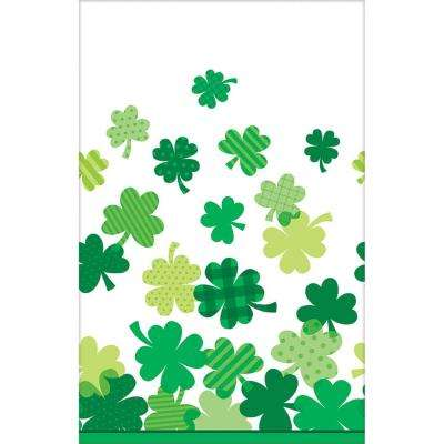 Blooming Shamrock 54 in. x 102 in. Plastic St. Patrick's Day Table Cover (3-Pack)