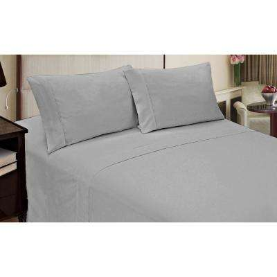 Jill Morgan Fashion 4-Piece Solid Silver Queen Sheet Set