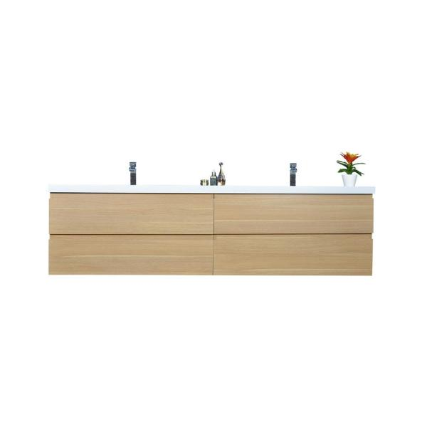 Bohemia 84 in. W Bath Vanity in White Oak with Reinforced Acrylic Vanity Top in White with White Basins
