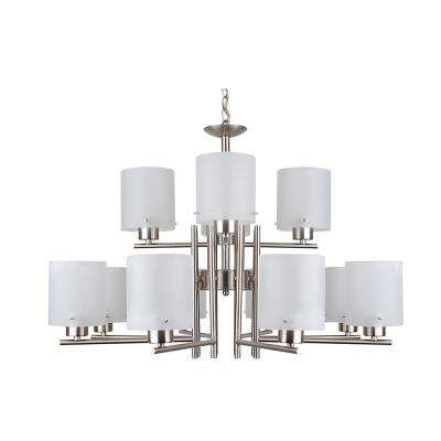 12-Light Satin Nickel Chandelier with Etched Acid Wash Glass Shade