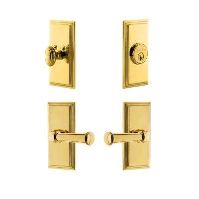 Carre Plate 2-3/4 in. Backset Lifetime Brass Georgetown Door Lever with Single Cylinder Deadbolt